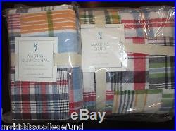 NWT Pottery Barn Kids Madras navy twin quilt & standard sham red orange