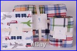 NWT Pottery Barn Kids Madras twin quilt, sham & Brody cars truck sheet set multi