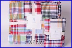 NWT Pottery Barn Kids Madras twin quilt & standard sham multi