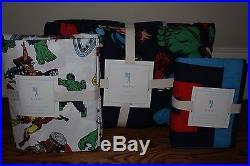 NWT Pottery Barn Kids Marvel twin quilt, sham & sheet set Iron Man Avengers