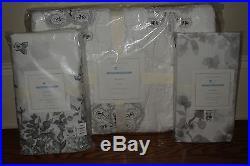 NWT Pottery Barn Kids Natalie nursery crib toddler quilt, skirt & sheet gray