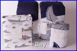 NWT Pottery Barn Kids Patchwork Shark twin quilt, standard sham & sheet set