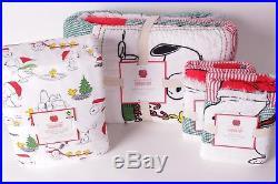 NWT Pottery Barn Kids Peanuts Holiday Full quilt, 2 shams & sheet set Christmas