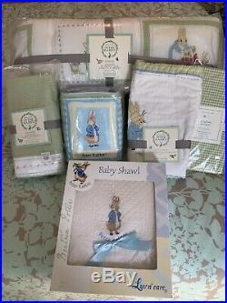 NWT Pottery Barn Kids Peter Rabbit Beatrix Potter Nursery Crib Bedding Set 5 Pc
