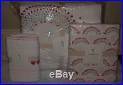 NWT Pottery Barn Kids Rainbow twin quilt, std sham, euro sham & rainbow sheet
