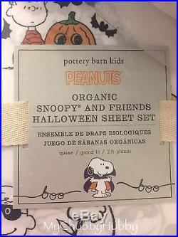 NWT Pottery Barn Kids SNOOPY & FRIENDS QUEEN HALLOWEEN Sheets PEANUTS HTF