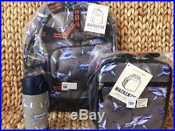 NWT Pottery Barn Kids Shark Large Gray Backpack Lunchbox Water Bottle Mackenzie