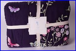 NWT Pottery Barn Kids Sonja twin quilt deep purple eggplant floral sonia