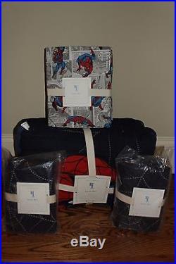 NWT Pottery Barn Kids Spiderman FULL quilt, 2 shams & gray comic spidey sheet