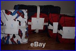 NWT Pottery Barn Kids Spiderman FULL quilt, 2 shams & white spidey sheet set