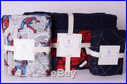 NWT Pottery Barn Kids Spiderman twin quilt, euro sham & comic twin sheet set