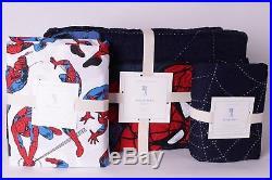 NWT Pottery Barn Kids Spiderman twin quilt, euro sham & white twin sheet set