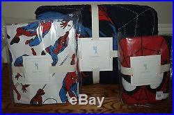 NWT Pottery Barn Kids Spiderman twin quilt, standard sham & comic twin sheet set