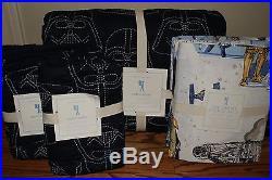 NWT Pottery Barn Kids Star Wars Darth Vader navy Full quilt, 2 shams & sheet set
