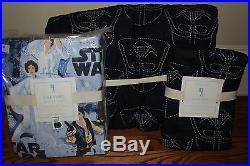 NWT Pottery Barn Kids Star Wars Darth Vader navy twin quilt, sham & sheet set