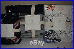 NWT Pottery Barn Kids Star Wars Millennium Falcon twin quilt, sham & sheet set