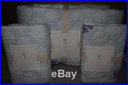 NWT Pottery Barn Kids Stella Elephant FQ quilt & 2 standard shams full queen f/q
