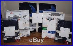 NWT Pottery Barn Kids Submarine quilt, 2 shams & choose Shark or Sub FULL sheet