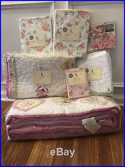 New 7 PC Pottery Barn Kids/Baby ASHLEY Girls Nursery/Crib Bedding Set RARE