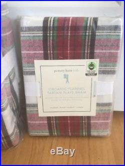 New Pottery Barn Kids 3pc F/q Organic Flannel Tartan Plaid Duvet Cover & 2 Shams