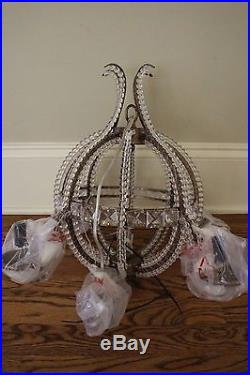 New Pottery Barn Kids Carriage chandelier gold & beaded