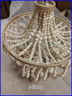 New Pottery Barn Kids Dahlia wood bead beaded natural chandelier tiny spot