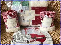 New Pottery Barn Kids Full Queen Quilt 2 Shams Jolly Santa Pillow Christmas NWT