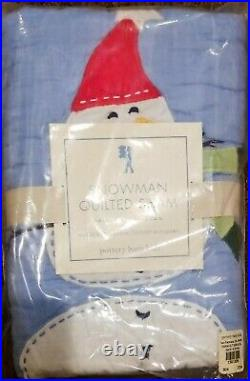 New Pottery Barn Kids Full/Queen Snowman Blue Red Gingham Holiday w 2 Euro Shams