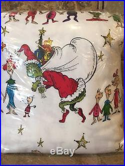 New Pottery Barn Kids Grinch Full/Queen Duvet Cover Christmas Dr. Seuss WhoVille