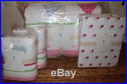 New Pottery Barn Kids Heart pink Full quilt, 2 shams & sheet set ships asap