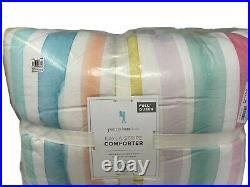 New Pottery Barn Kids Kayla Rainbow Stripe Full/Queen Comforter