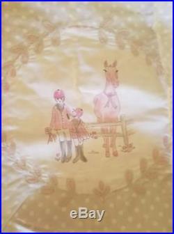 New Pottery Barn Kids Laura Equestrain Horses Pink Gray Full Queen Duvet Cover