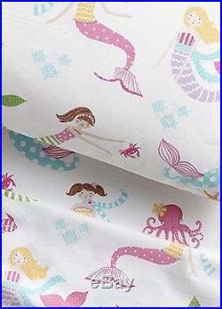 New Pottery Barn Kids Organic Mermaid Twin Bedding Set 5 Piece Set Nwt