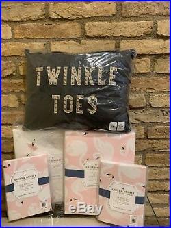 New Pottery Barn Kids Organic Swan Duvet Ballerina Sheet Set Queen Size Pillow