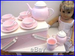 New Pottery Barn Kids Pink Metal Tea Set Picnic Basket Storage for Doll or Girls