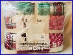New Pottery Barn Kids Twin Quilt Sheet Set Euro Sham Jolly Santa Christmas NWT
