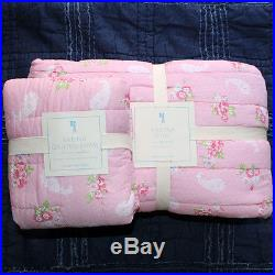 New Pottery Barn Kids karina floral twin quilt, euro sham sheet set 5pc pink