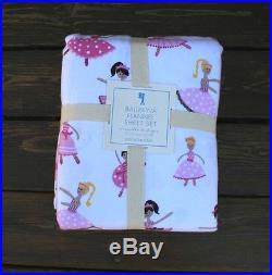 New Pottery Barn kids ballerina flannel Sheet set Full pink brown feels so soft