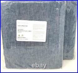 New2 Pottery BarnClassic Belgian Flax Linen Curtains DrapesBlue Chambray-96