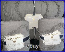 NewPottery Barn Emily & Meritt Scallop Ruffle Quilt F/Q & 2 Euro ShamsGrey
