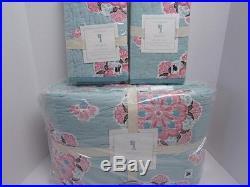 NewPottery Barn Kids Brooklyn F/Q Quilt & Two Standard Shams Aqua Blue