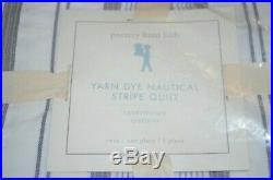 PB Pottery Barn Kids Yarn Dye Dyed Nautical Stripe Twin Quilt Gray White NEW