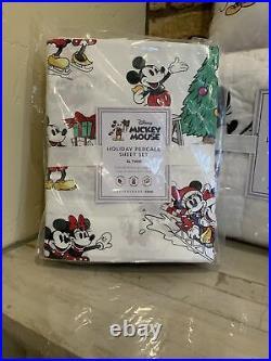 POTTERY BARN Disney Mickey Mouse TWIN Quilt Sham Sheet Set Pillow Christmas Teen