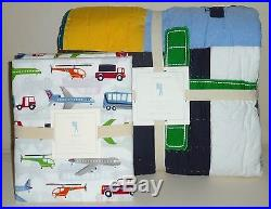 POTTERY BARN KIDS Airplane Icon FULL/QUEEN Quilt withBrody FULL Sheet Set, NEW