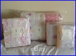 Pottery Barn Kids Bailey Mermaid Ruffle Quilt Shams Sheet Set Full Coral New