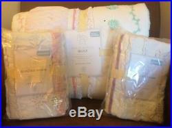 POTTERY BARN KIDS Bailey Ruffle F/Q Quilt & 2 Shams QUEEN Mermaid Sheet Set NEW