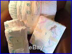 POTTERY BARN KIDS Bailey Ruffle F/Q Quilt, FULL Mermaid Sheet Set Euro Shams NEW