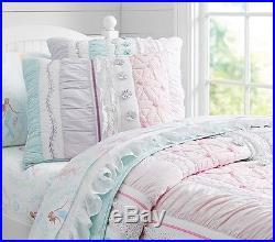 POTTERY BARN KIDS Bailey Ruffle Twin Quilt, Mermaid Sheet Set, Euro Sham Set NEW
