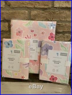 POTTERY BARN KIDS Delilah Floral Duvet Cover Full Queen 2 Shams Bedding Set Pink