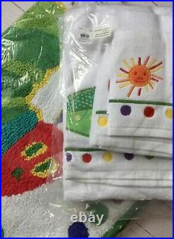 POTTERY BARN KIDS Eric Carle Very Hungry Caterpillar Towel Set +Bath mat rainbow